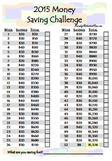 52 week money saving challenge - spread it out
