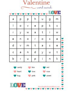 Valentine Word Search Easy Free