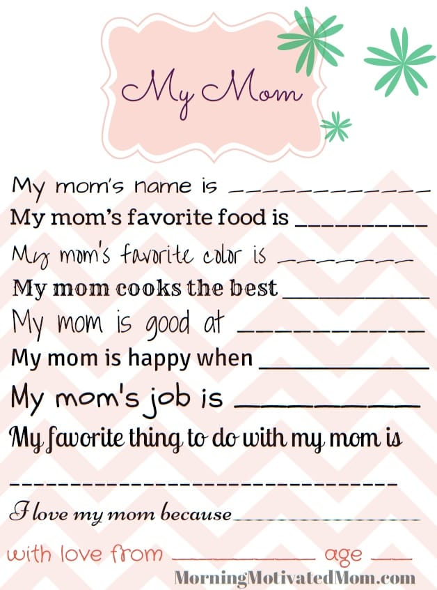 Bright image regarding all about my mom printable