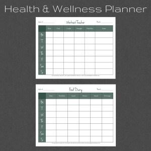 Health and Wellness Planner. Fitness Log. Food Log.
