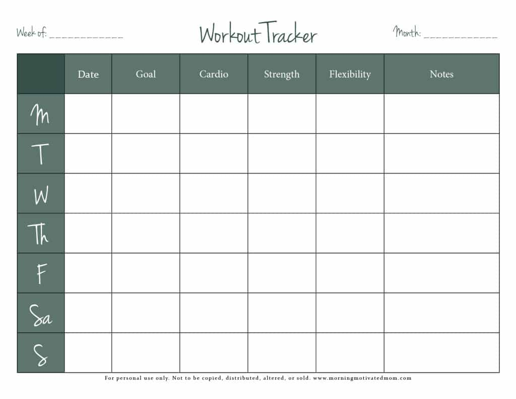 Free Workout Tracker Printable