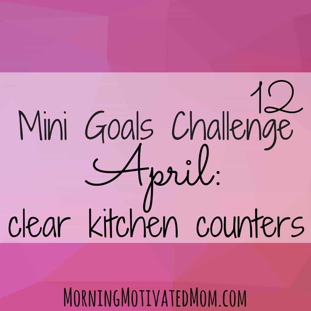 12 Mini Goals Challenge: I love the look of a clear, clean counter, but often allow clutter to accumulate on the counter. In April, I want to go to bed each night with an almost clear kitchen counter.