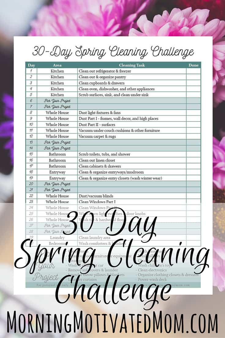 30 Day Spring Cleaning Printable Morning Motivated Mom