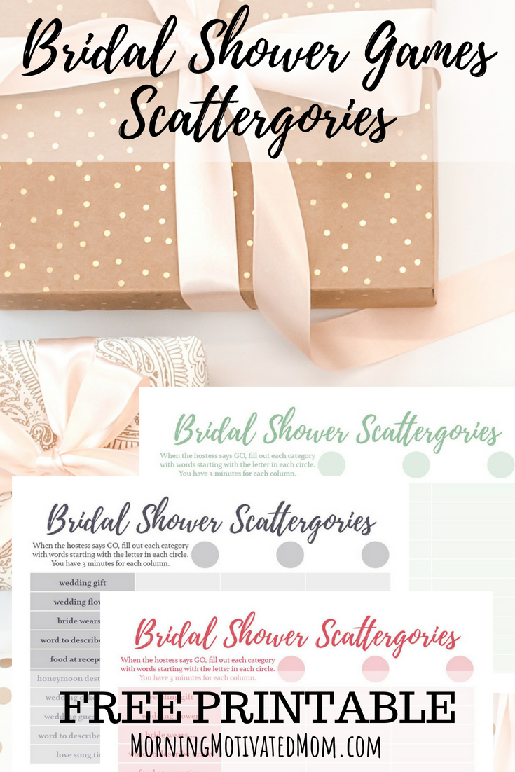 Bridal Shower Game and Free Scattergories Printable – Morning ...