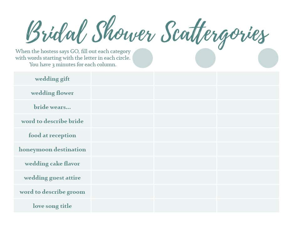 Bridal Shower Scattergories  Top Result 60 Best Of Templates for Bridal Shower Games Pic 2017 Phe2