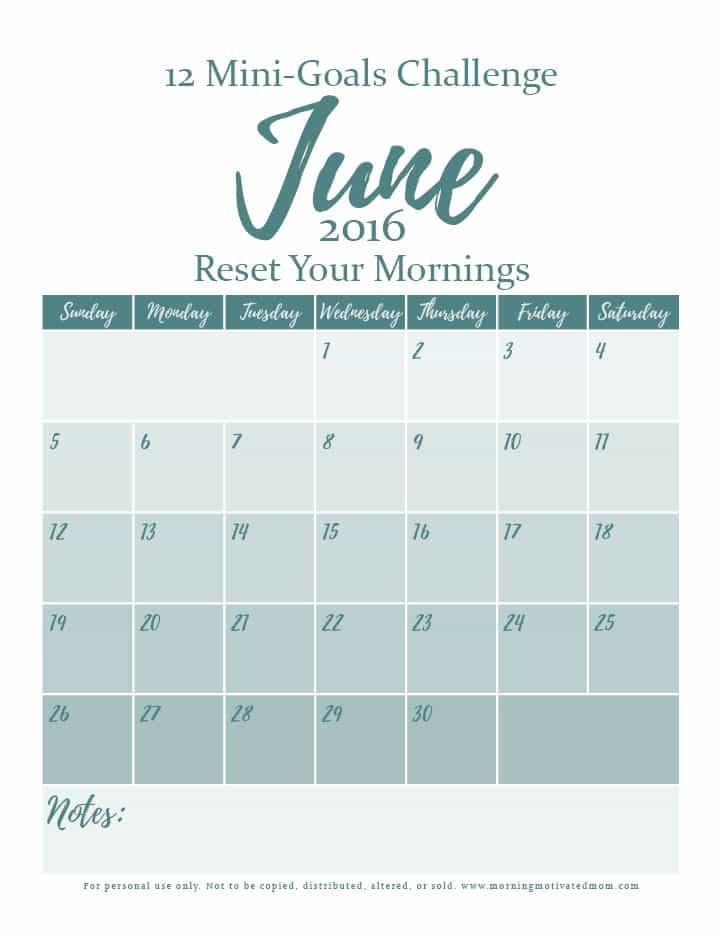 Mini Goal Challenge: June Calendar Printable