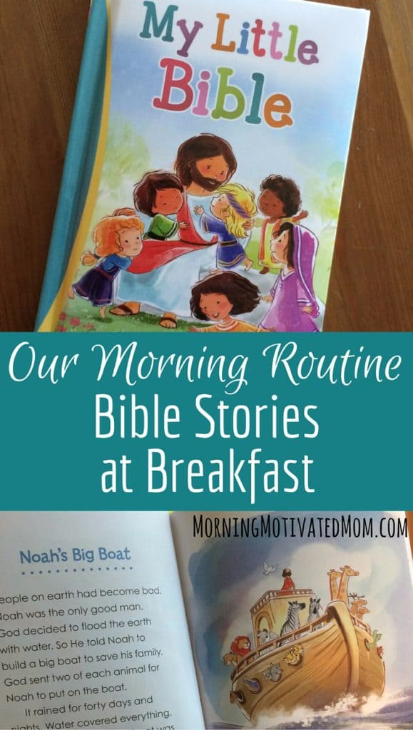 Our Morning Routine - Bible Stories at Breakfast. I have now started the habit of reading a Bible story with my girls at breakfast each morning. I would recommend My Little Bible as a toddler's first Bible. The books small size will be perfect for them to carry around and look through themselves. The illustrations are sweet and the stories are the perfect start to sharing God's Word with their little hearts.