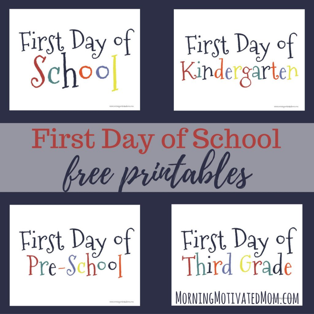 First Day of School Printable. Free Printables.