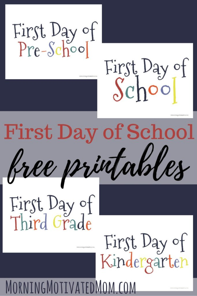 First Day of School Printable. Free Back to School Printables.