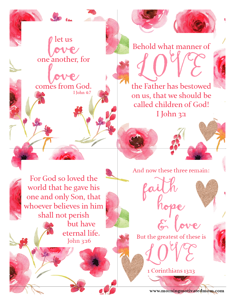 Scripture LOVE printables - Morning Motivated Mom